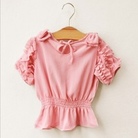 wholesale--5pcs/lot. 2013 summer new arrival the Korean girls lace Puff waist chiffon shirt,free shipping.