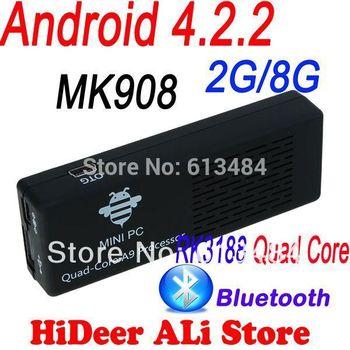 MK908 RK3188 Quad Core Android 4.2.2 Mini PC TV Box 2G RAM 8G rom Bluetooth 4.0 tv dongle Google TV Free Shipping