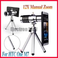 DROP SHIPPING & FREE SHIPPING! 12X Optical Zoom Camera Telescope Aluminum Metal Phone Lens + Mini Tripod + Case for HTC ONE M7
