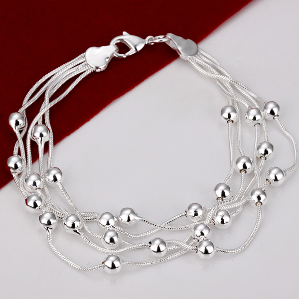 Silver Bracelet 5 Lines Series Smooth Surface Balls Women's Bracelets,Fashion Jewelry,Best Gift BH234(China (Mainland))