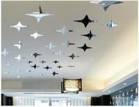 Min order 15 usd ( Mix items)50pcs STARS Crystal mirror three-dimensional wall stickers ceiling home decoration accessories