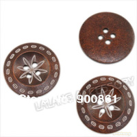 Fashion Charm buttons 90pcs/lot Coffee 2 Holes Sewing Wooden Carved Blooming Flowers Round Fancy buttons  30x4mm 112516