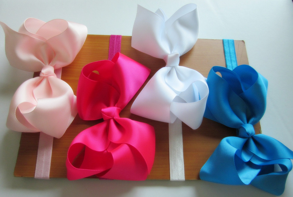 6inch big ribbon bows hair bow with soft headband,baby headband,hair accessory hairband 32pcs/lot free shipping(China (Mainland))