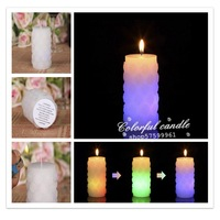 hot-selling Popular rose pillar real wax electronic candle with real flame color changing candle for Birthday, Wedding, Parties