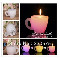 Mug shaped real flame new design electronic candle led lights Multi-colored LED wax candle for Birthdays, Weddings, Parties