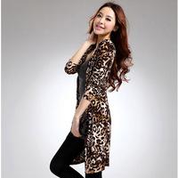 Women Shirt Autumn Winter 2014 New Fashion Sexy Hot Women Long sleeved Chiffon Blouse Shirt Tops Casual leopard shirt T269