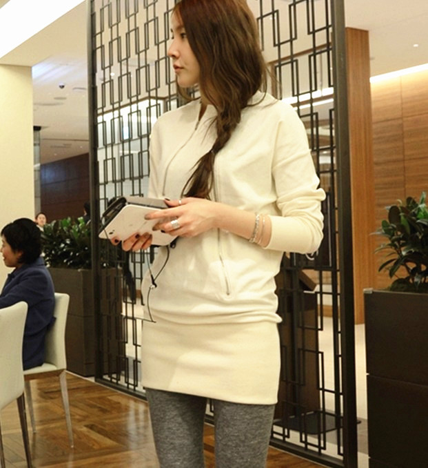 Free Shipping Vogue Zipper Decorated Long Sleeve Cotton Dress White(China (Mainland))