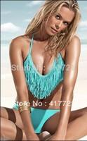 2014 Free Shipping ML1025 New Sexy Fashion Design Stylish Green Women Halter Fringe Bikini Set Cheap Bathing Suits