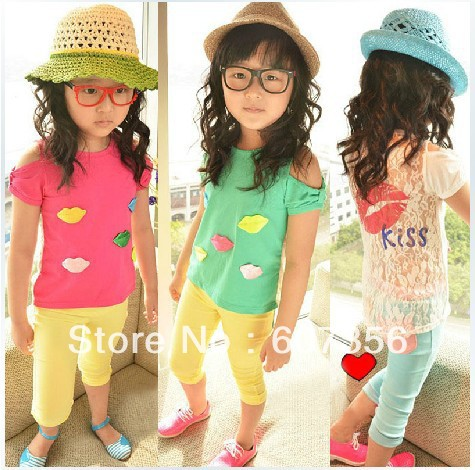 NEW designs T shirts Children lace tops girls clothes Kids bottoming shirt summer garment hcqzsz(China (Mainland))