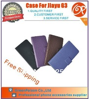New Arrival Free Shipping 4 Colors For Choice 4.5 inch Folio Case For Jiayu G3, Assorted Colors