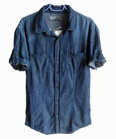 Fashion . spring and summer water wash dark color turn-down collar slim thin circular arc short-sleeve denim shirt