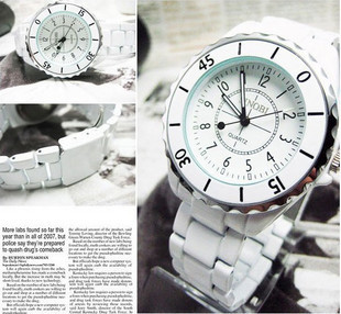 Free shipping Sinobi porcelain lovers quartz watch fashion black and white spermatagonial 1850g(China (Mainland))