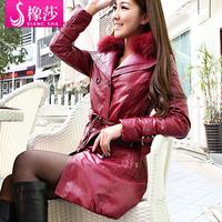 Pu medium-long genuine leather down coat fox fur