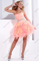 Free Shipping New Arrival Hot Sale!!Ball Gown Strapless Pleated Tiered Sexy Mini Tulle Prom Dresses