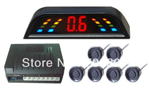 LED display;Parking sensor system with 6 sensors,alarm distance from 0.3m to 1.8m,Car Reverse Backup Radar(China (Mainland))