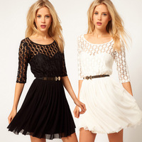 Free Shipping ! 2013 hot sell lace chiffon half sleeve sexy dress party dress double layer gauze with belt full size