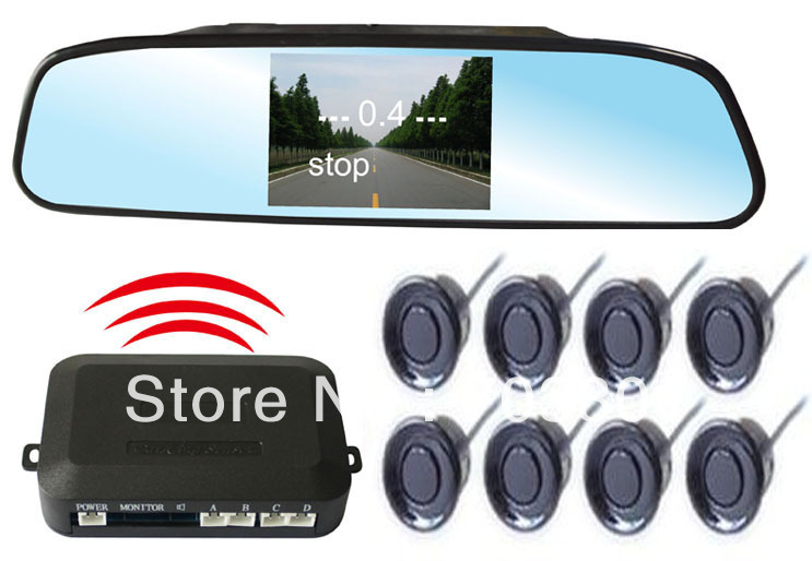 car wireless parking sensor system with 8 sensors;8 sensors+3.5 inch mirror+camera+wireless parking host(China (Mainland))