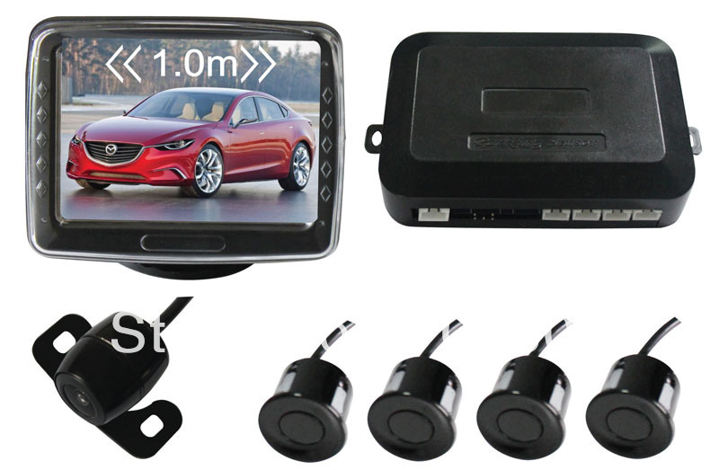 car parking sensor system with 4 sensors,3.5 inch digital TFT LCD screen monitor ,4 sensors+3.5 inch monitor+camera+parking host(China (Mainland))