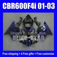 D1214 Fairing fit HONDA CBR600F4I CBR600 F4I CBR 600F4I 01 02 03 2001 2002 2003 Good Blue flames Bla