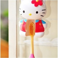 Pretty Hello Kitty Automatic Toothbrush Holder Toothbrush Rack Portable Sucker Suction Holder Accessories for Bathroom