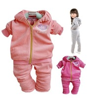SXT035,4sets/lot,Free shipping!!2013 Hot sale baby clothing girl sports set (coat+pants) pcs autumn infant clothes set Wholesale