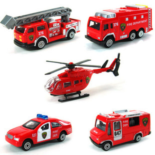 Alloy car models 4 fire truck series 5 set toy car inertia car(China (Mainland))