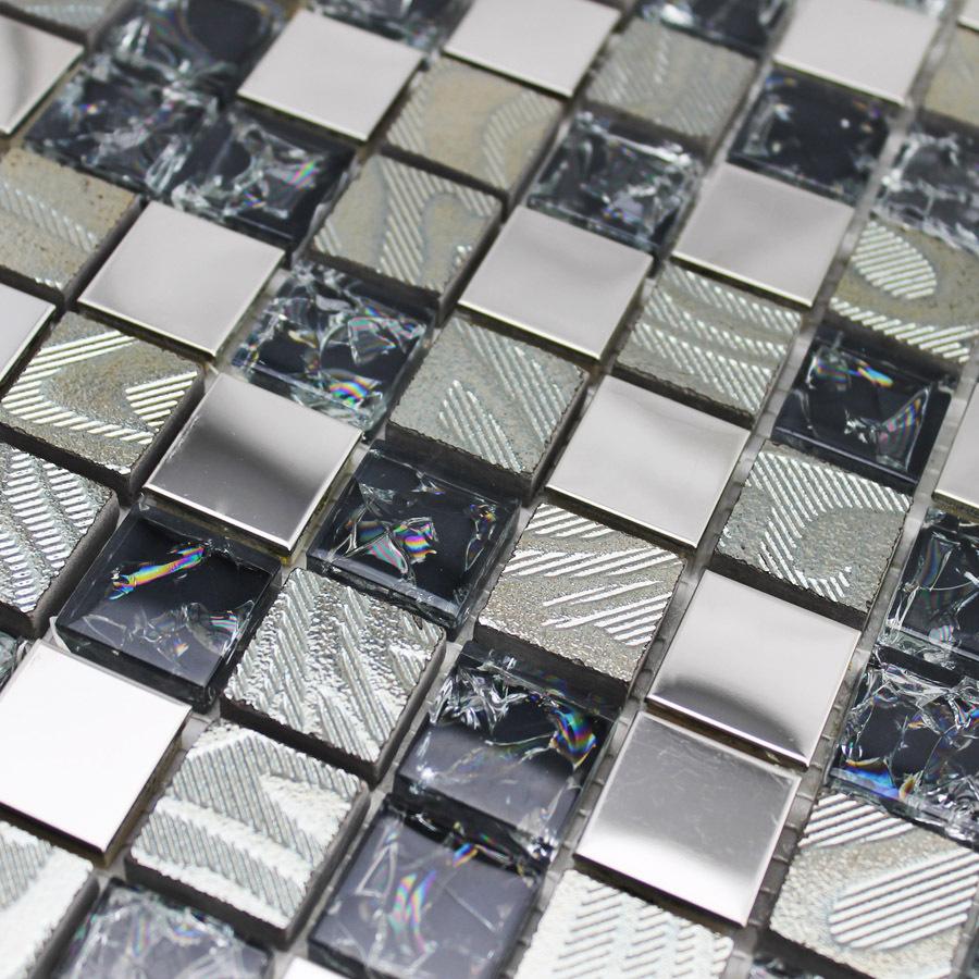 Mosaico de vidro do metal cerâmica aço inoxidável fundo do saguão parede mosaico de azulejos(China (Mainland))