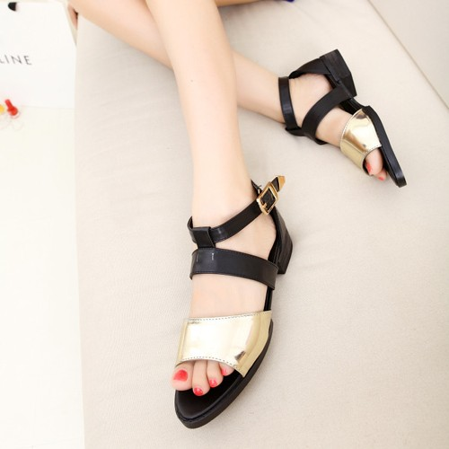 2013 women's princess shoes brief metal flat sandals daily casual summer(China (Mainland))
