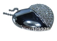 New Stainless steel heart USB with half Rhinestone Necklace Pendant Gift USB flash drive dish1GB 2GB 4GB 8GB 16GB 32GB