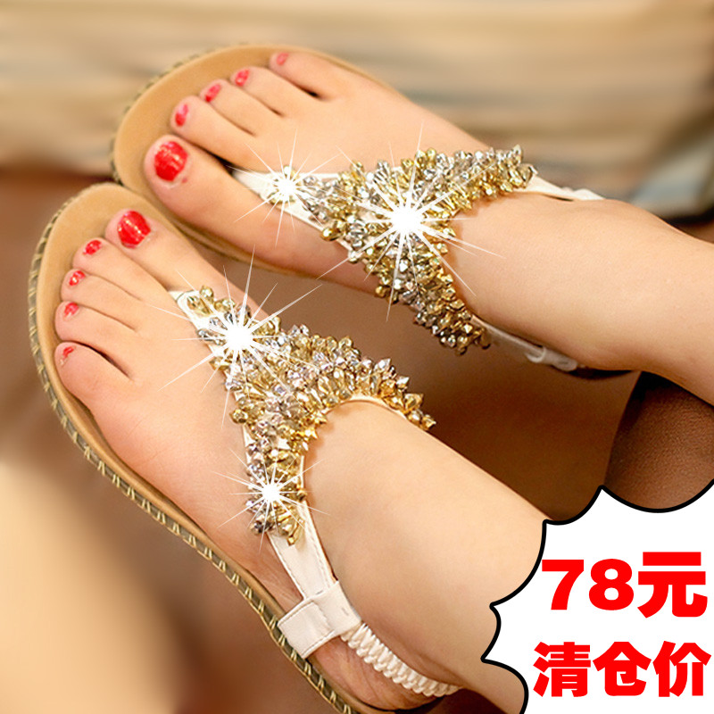 Flat sandals female flip bohemia women's flip-flop flat heel shoes maternity sandals clip summer sandals(China (Mainland))