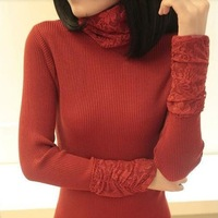 Slim new hot sail  lace heap turtleneck long-sleeve pullover sweater women  sw837