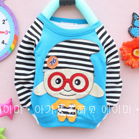 Wholesale(4 pieces/lot) hot selling Childrens Long Sleeve Cotton T Shirt for spring/ fashion striped Cartoon O-neck t shirt