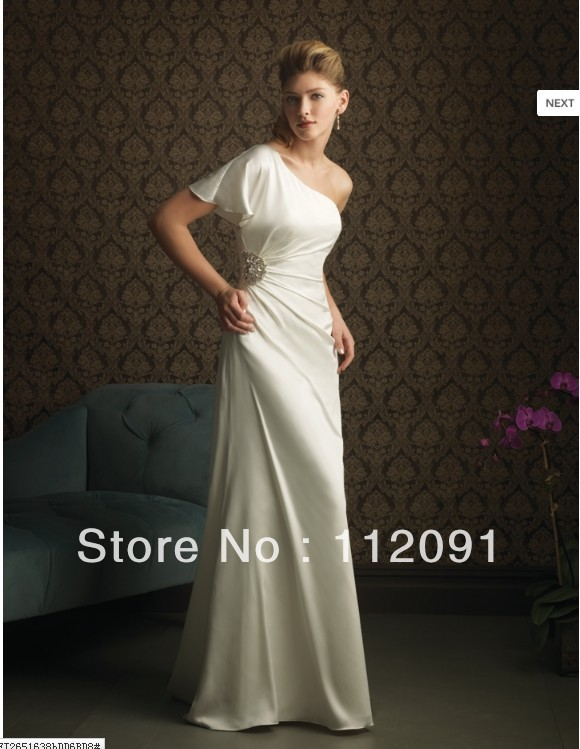 2013 Fashion White Beautiful Simple Elegant Generous Scalloped One Shoulder Floor-Length Pleat Beads Beach Wedding Dresses(China (Mainland))