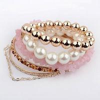 2013 New Arrival Free Shipping South Korean Fashion Multilayer Pearl Love Bracelet Jewelry Bracelet For Women BL0149