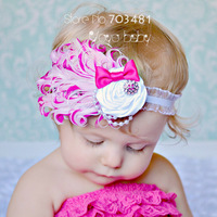 Fashion cute Infant Baby Toddler Feather flower pearl bow Headband for children gift Soft Headwear Hair Band free shipping HAF09