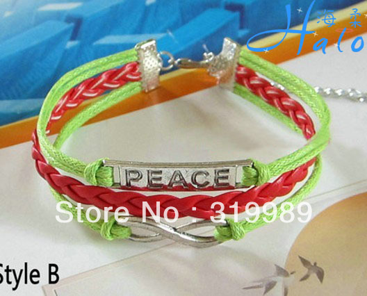 12PCS/Lot Free ship Green and Red Contrast Peace Charm Bracelet for Woman Fashion Ornament B00-927(China (Mainland))