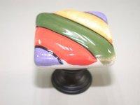 10pcs lot free shipping Porcelain square painting cabinet knob\porcelain handle\porcelain knob