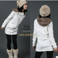 White Womens Autumn Active Sweatshirts Hoodies Leopard Top Outerwear Coats Free Size Sweater, Free Shipping