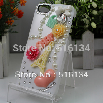 Free shipping  !  DIY jewelry handmade resin heart flower towel cell mobilephone case for Iphone 5 /5g
