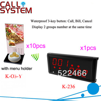 Waiter Caller System K-236+O3-Y+H with 10pcs call button and 1pcs display for restaurant service DHL free shipping