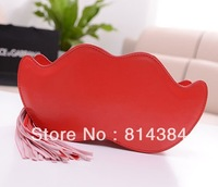 2013 New Style Summer Cute Beard Shaped Shoulder Bag Clutch Bag Pink Handlebar Crossbody Handbag Tassel SB0006