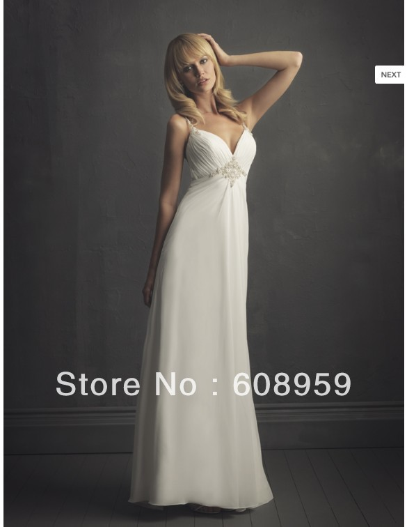 2013 Fashion White Beautiful Simple Straight Cool Sweetheart Spaghetti Straps Floor-Length Pleat Beading Beach Wedding Dresses(China (Mainland))