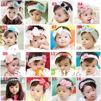 10pcs/lot 2013 New Lace Flower Newborn Baby Infant Toddler Kid Girl Headband Christening Elastic Hair Accessiries16 Styles