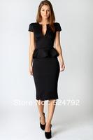 free shipping 2013 Summer Elegant U neck OL Women Summer Peplum Career Dress White Black  Dress