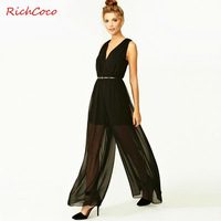 Free shipping women chiffon jumpsuit with waist belt design deep V-neck sleeveless high waist solid thin sexy wholesale D149