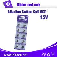 50PCS/5card,PKCELL AG5 LR48/193/754 1.5 V 60mAH Alkaline battery  Coin Cell Button Batteries