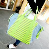 NEW ARRIVAL denim bags neon color stripe women jeans bags shopping bags handbag  shouler tote bag Free shipping