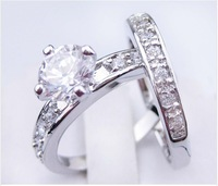 Sz6/7/8/9/10/11    jewelry couple  white  sapphire  Lover 's 10KT white Gold Filled Ring  for gift