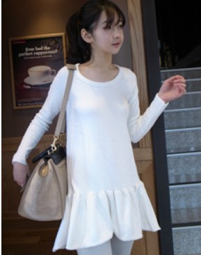 Women's spring and autumn solid color ruffle dress one-piece dress long-sleeve basic slip(China (Mainland))
