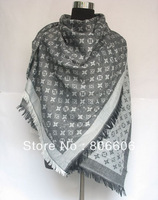 Top quality Women cotton+Wool Scarf & Shawl Lady luxury designer Square denim shawl wrap 150*150 cm in light grey